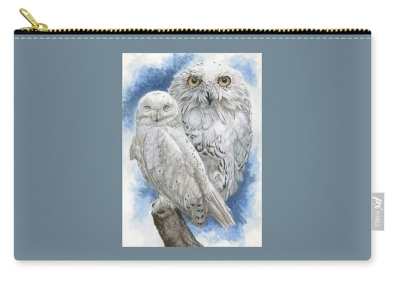 Snowy Owl Carry-all Pouch featuring the mixed media Radiant by Barbara Keith