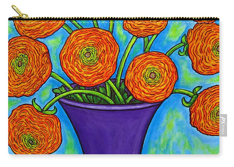 Green Carry-all Pouch featuring the painting Radiant Ranunculus by Lisa Lorenz