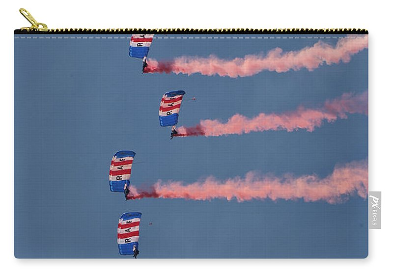 Royal Air Force Carry-all Pouch featuring the photograph Raf Parachute Display Team by Smart Aviation