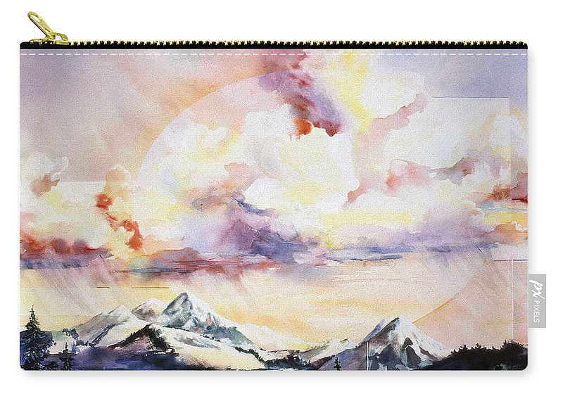 Ragged Mountains Carry-all Pouch featuring the painting Ragged Mountains Sunset by Connie Williams