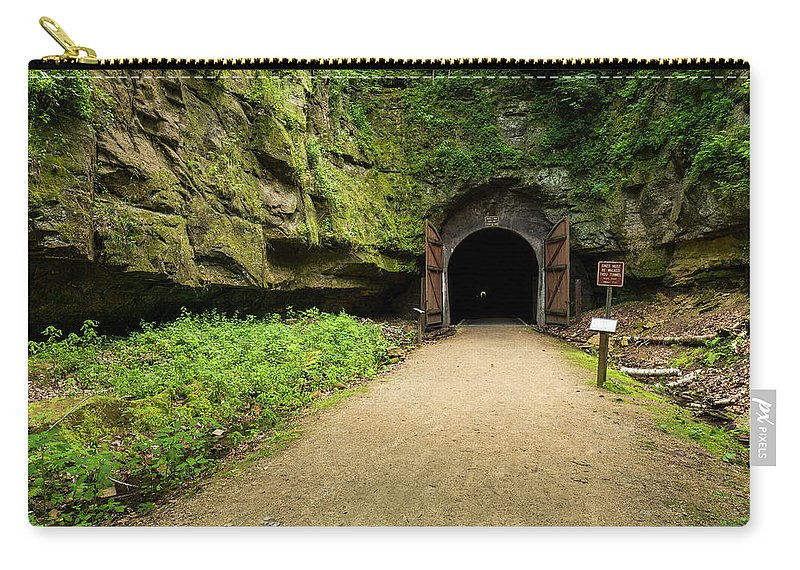 Bike Carry-all Pouch featuring the photograph Rail Trail Tunnel 2 A by John Brueske