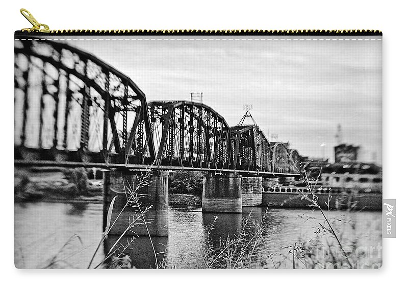 Black & White Carry-all Pouch featuring the photograph Railroad Bridge -bw by Scott Pellegrin