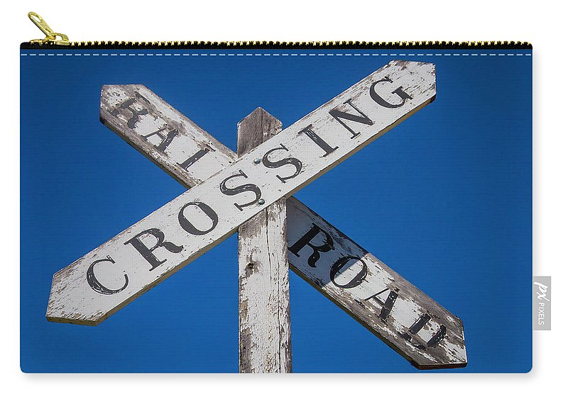 Railroad Carry-all Pouch featuring the photograph Railroad Crossing Wooden Sign by Garry Gay