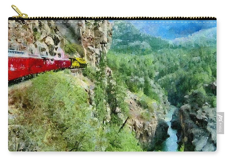 Animas Carry-all Pouch featuring the painting Rails Above The River by Jeffrey Kolker