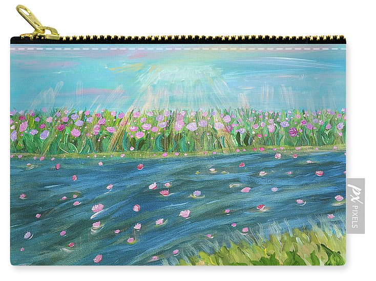 Landscape Carry-all Pouch featuring the painting Rain And Shine by Sara Credito