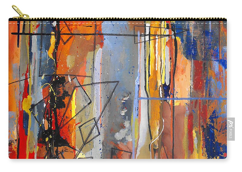 Abstract Carry-all Pouch featuring the painting Rain Down by Ruth Palmer
