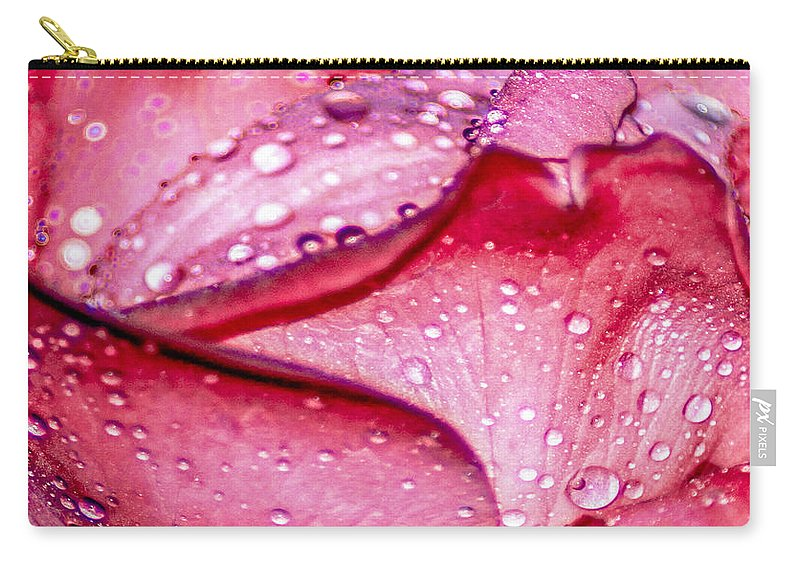 Optical Playground By Mp Ray Carry-all Pouch featuring the photograph Rain Drop Jewels by Optical Playground By MP Ray