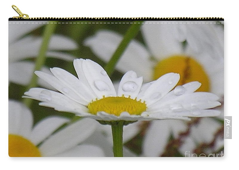 White Carry-all Pouch featuring the photograph Rain Drops On Pedals by Diane Greco-Lesser