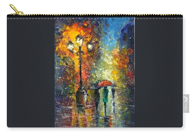 Autumn Carry-all Pouch featuring the painting Rain Fantasy aceo painting by Natalja Picugina