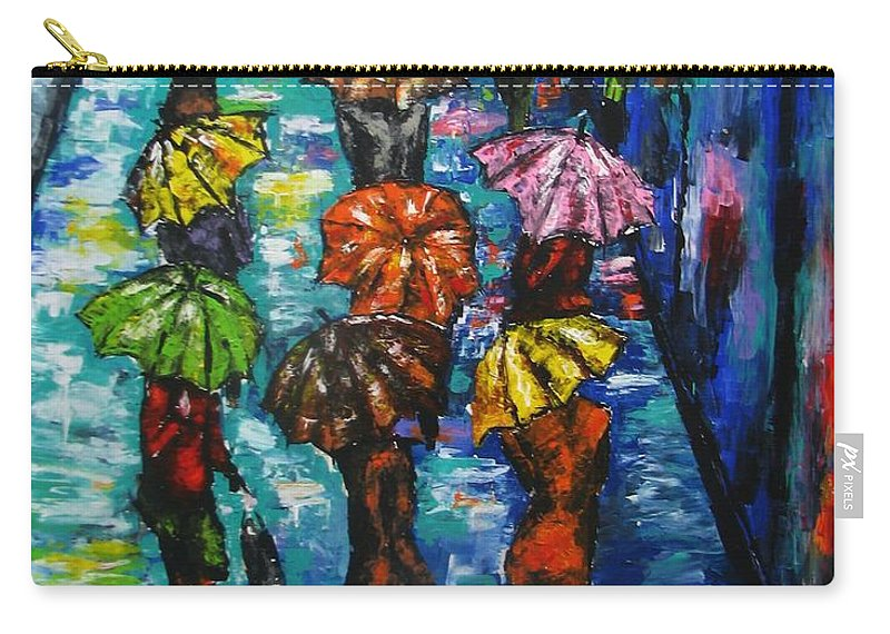 Rainy Landscape Carry-all Pouch featuring the painting Rain Fantasy Acrylic painting by Natalja Picugina