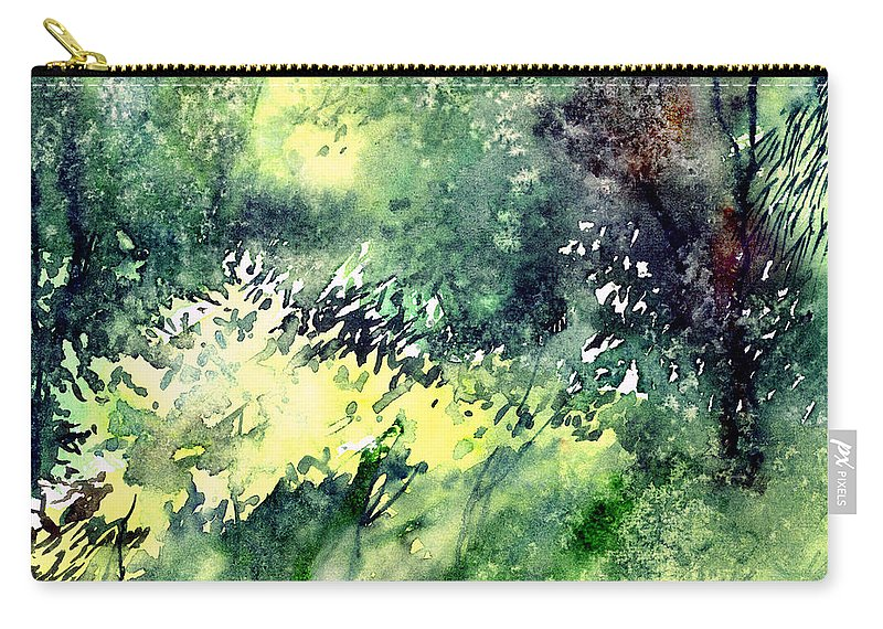 Landscape Watercolor Nature Greenery Rain Carry-all Pouch featuring the painting Rain Gloss by Anil Nene