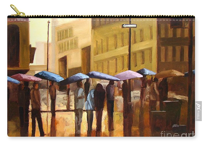 Cityscape Carry-all Pouch featuring the painting Rain in Manhattan number seventeen by Tate Hamilton