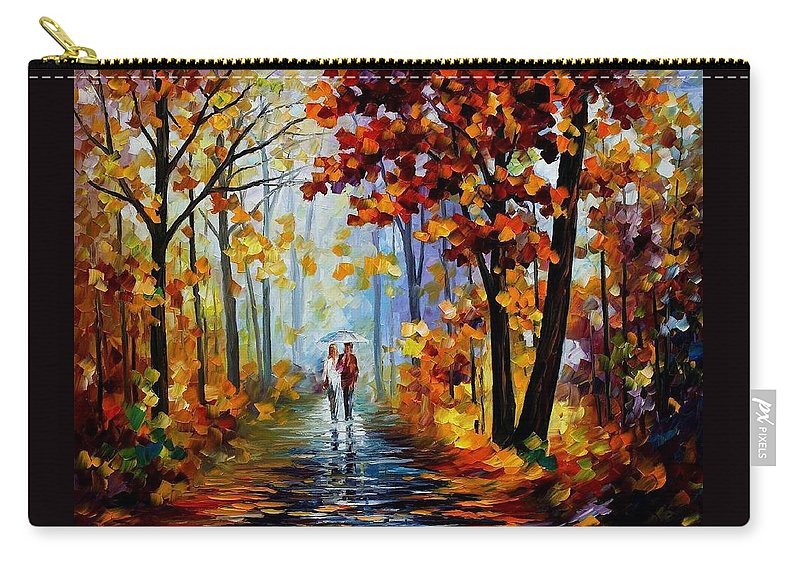 Afremov Carry-all Pouch featuring the painting Rain In The Woods by Leonid Afremov