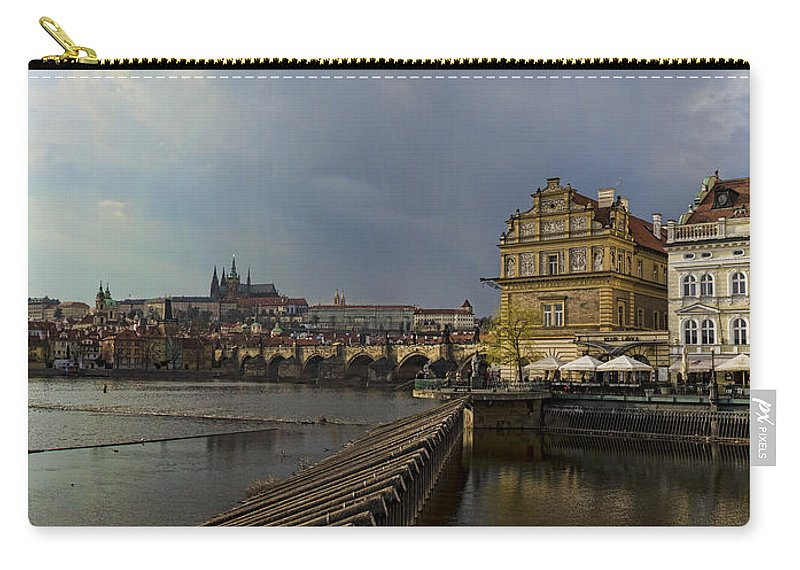 Prague Carry-all Pouch featuring the photograph Rain Over Prague by Heather Applegate