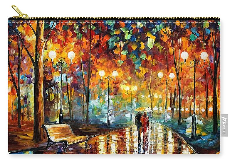 Afremov Carry-all Pouch featuring the painting Rain Rustle by Leonid Afremov