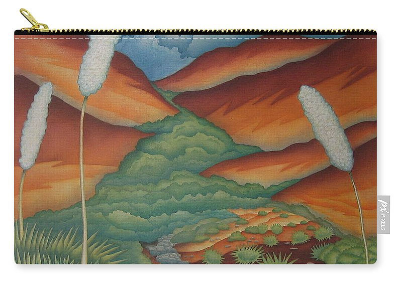Landscape Carry-all Pouch featuring the painting Rain Trail by Jeniffer Stapher-Thomas