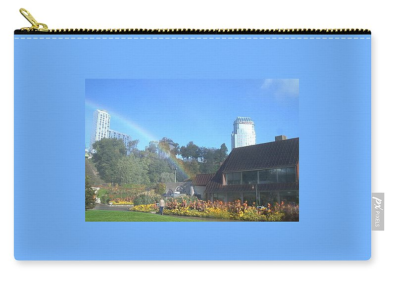 Rainbows Carry-all Pouch featuring the photograph Rainbow At The Falls by Debbie Levene