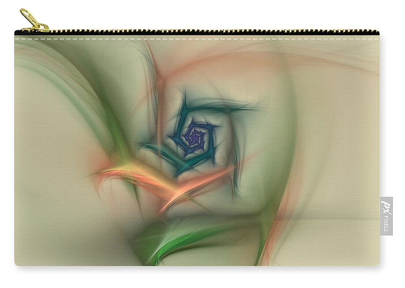 Apophysis Carry-all Pouch featuring the digital art Rainbow Basic Flower by Deborah Benoit