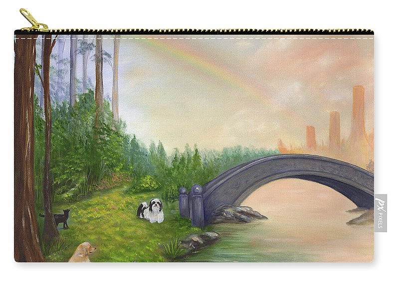 Pet Remembrance Carry-all Pouch featuring the painting Rainbow Bridge by Anne Kushnick