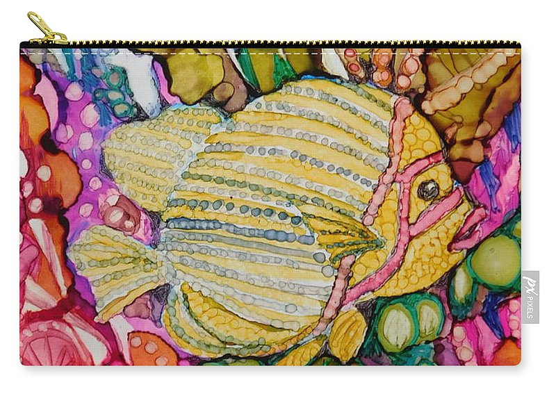 This Perky Rainbow-colored Sun Fish Was Painted On A 6 X 8 Ceramic Tile And Is Designed To Be Mounted On An Canvas Panel So It Fits A Standard 8 X 10 Frame.  Carry-all Pouch featuring the painting Rainbow-colored Sunfish by Joan Clear