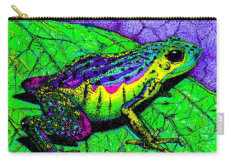 Frog Carry-all Pouch featuring the drawing Rainbow Frog 2 by Nick Gustafson