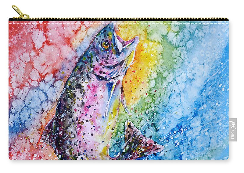 Trout Carry-all Pouch featuring the painting Rainbow Hunter by Zaira Dzhaubaeva
