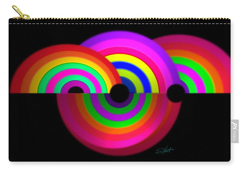 Rainbow Carry-all Pouch featuring the painting Rainbow In 3d by Charles Stuart