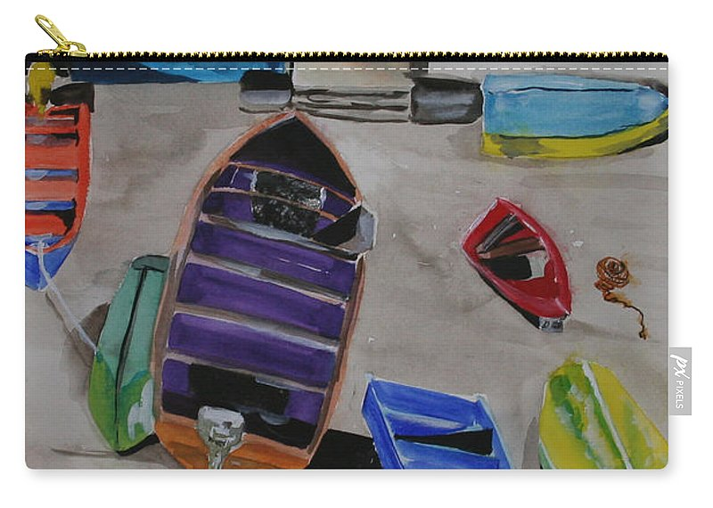 Boats Carry-all Pouch featuring the painting Rainbow On The Dock by Jean Blackmer