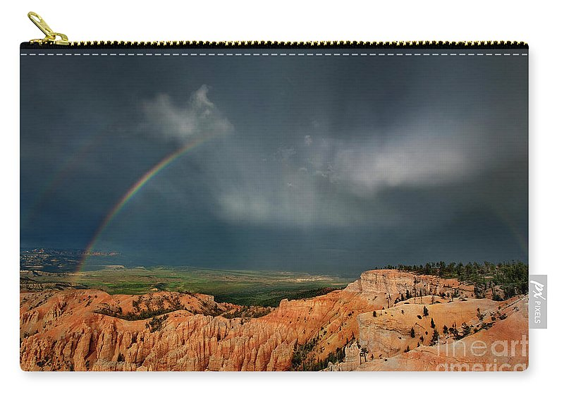 North America Carry-all Pouch featuring the photograph Rainbow Over Hoodoos Bryce Canyon National Park Utah by Dave Welling