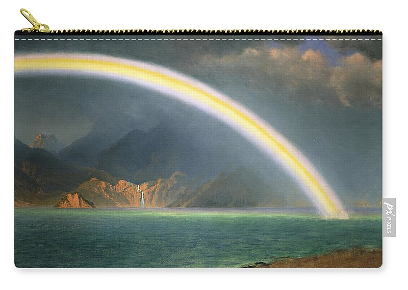 19th Century; Albert Bierstadt; American Artist; American Painting; Bright; Cloudy; Daytime; Dream; Dream Like; Dreaming; Dreamscape; Enchanted; Enchanting; Enchantment; Fairy Tale; Fairyland; Fanciful; Fantasy; Fantasy & Fiction; Fantastical; Hope; Hopeful; Hudson River School; Jenny Lake; Lake; Late 19th Century; Literature; Magical; Meteorology; Natural Space; North America; Oil On Canvas; Oil Painting; Outdoors; Rainbow; Romantic Art; Romantic Era; Romanticism; Sky; Spellbound Carry-all Pouch featuring the painting Rainbow Over Jenny Lake Wyoming by Albert Bierstadt
