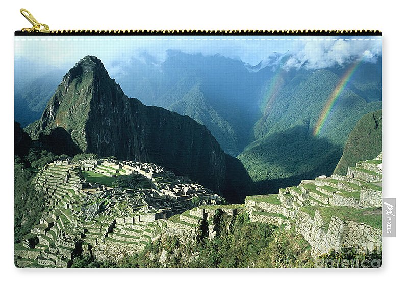 Machu Picchu Carry-all Pouch featuring the photograph Rainbow Over Machu Picchu by James Brunker