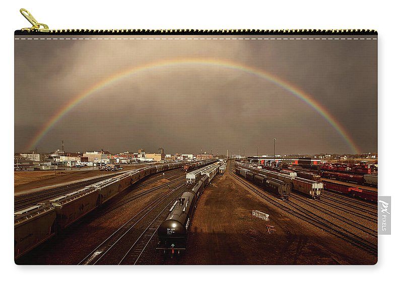 Rainbow Carry-all Pouch featuring the digital art Rainbow Over Moose Jaw Saskatchewan by Mark Duffy