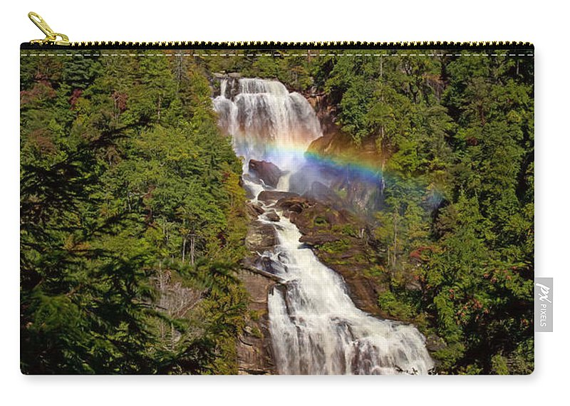Rainbow Carry-all Pouch featuring the digital art Rainbow Over Whitewater Falls by John Haldane
