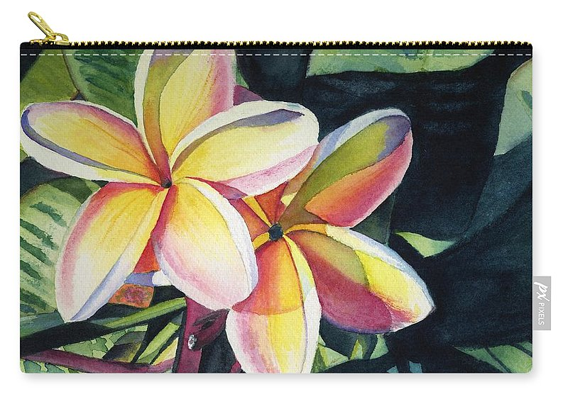 Rainbow Carry-all Pouch featuring the painting Rainbow Plumeria by Marionette Taboniar