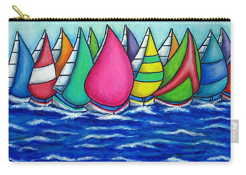 Boats Carry-all Pouch featuring the painting Rainbow Regatta by Lisa Lorenz