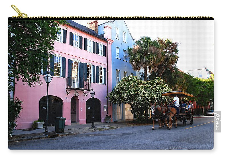 Charleston Carry-all Pouch featuring the photograph Rainbow Row Charleston by Susanne Van Hulst