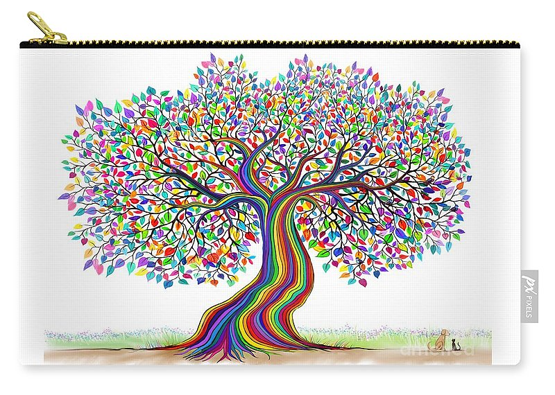 Rainbow Tree Carry-all Pouch featuring the digital art Rainbow Tree Friends by Nick Gustafson
