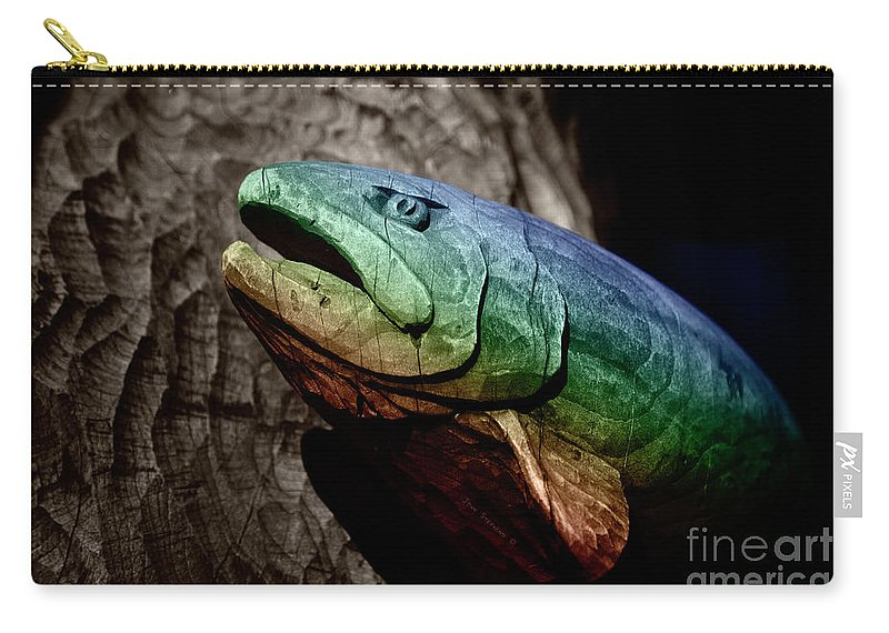 Rainbow Carry-all Pouch featuring the photograph Rainbow Trout Wood Sculpture by John Stephens