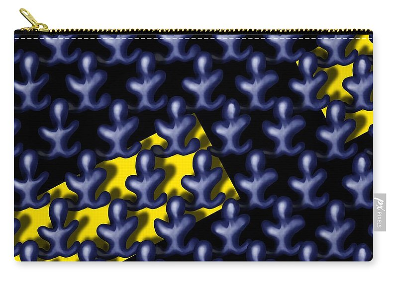 Surrealism Carry-all Pouch featuring the digital art Raindance III - March Of The Blue People by Robert Morin