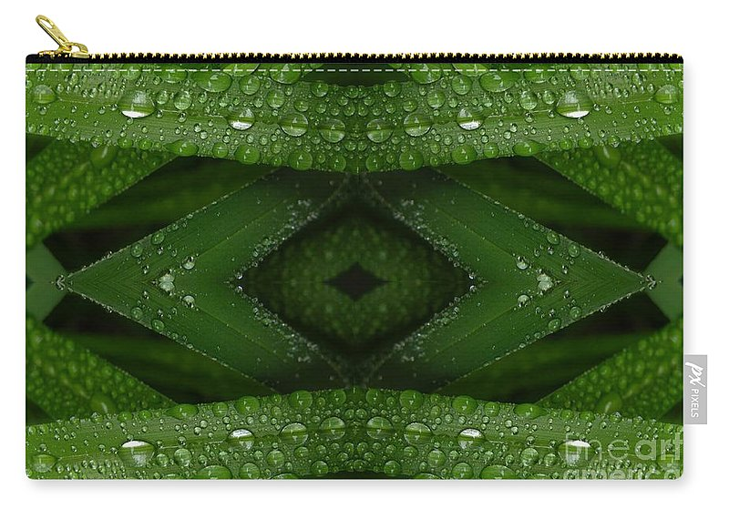 Nature Carry-all Pouch featuring the digital art Raindrops On Green Leaves Collage by Carol Groenen
