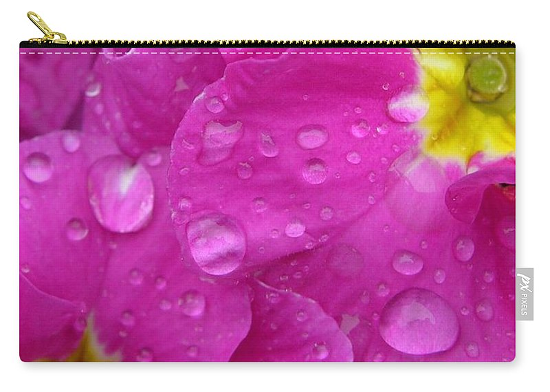 Pink Carry-all Pouch featuring the photograph Raindrops On Pink Flowers by Carol Groenen