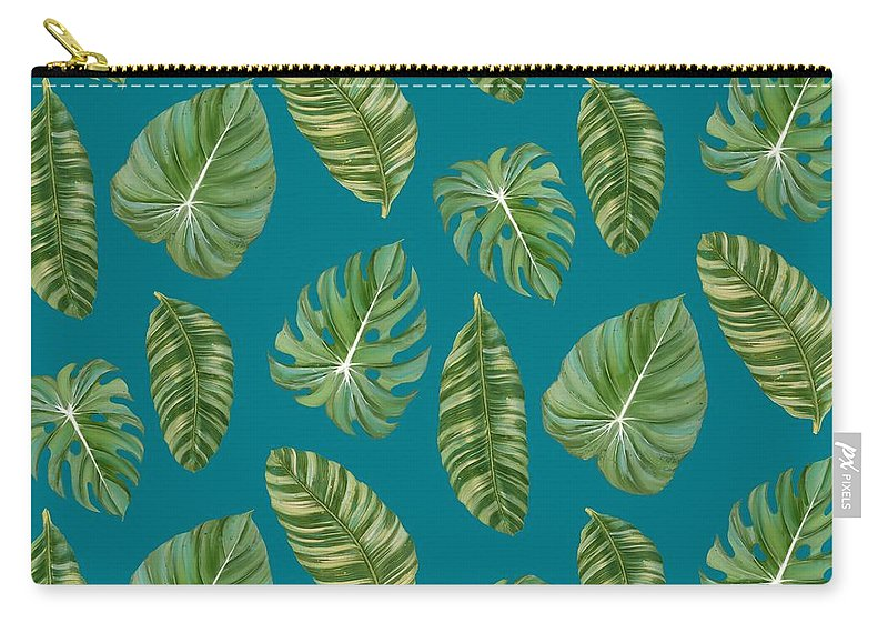 Tropical Carry-all Pouch featuring the painting Rainforest Resort - Tropical Leaves Elephant's Ear Philodendron Banana Leaf by Audrey Jeanne Roberts