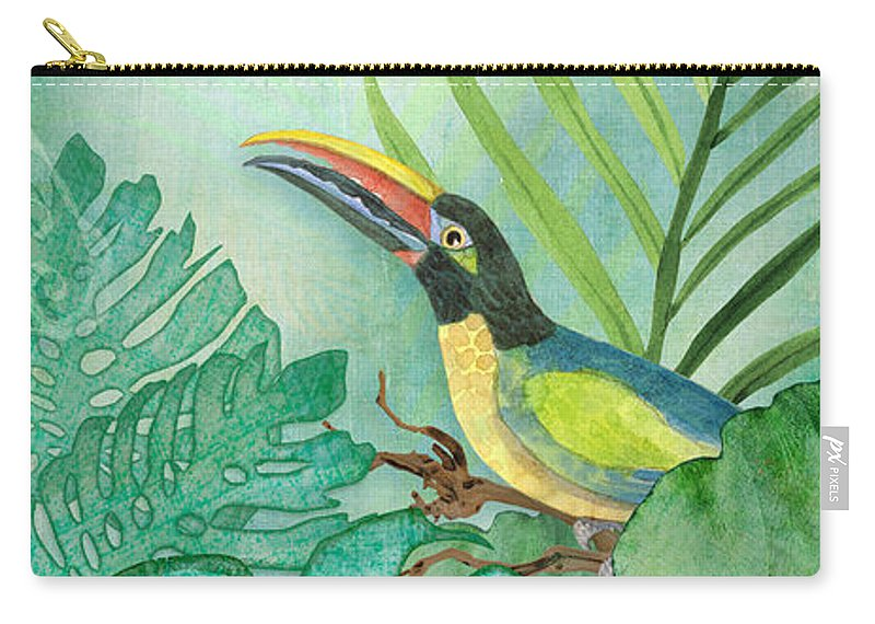 Toucan Carry-all Pouch featuring the painting Rainforest Tropical - Tropical Toucan w Philodendron Elephant Ear and Palm Leaves by Audrey Jeanne Roberts