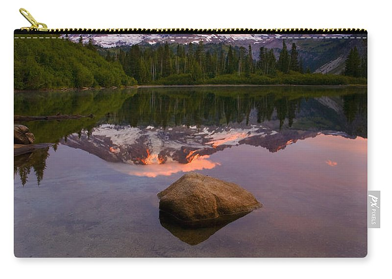 Mt. Rainier Carry-all Pouch featuring the photograph Rainier Dawn Breaking by Mike Dawson