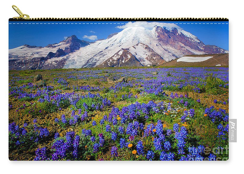 America Carry-all Pouch featuring the photograph Rainier Lupines by Inge Johnsson