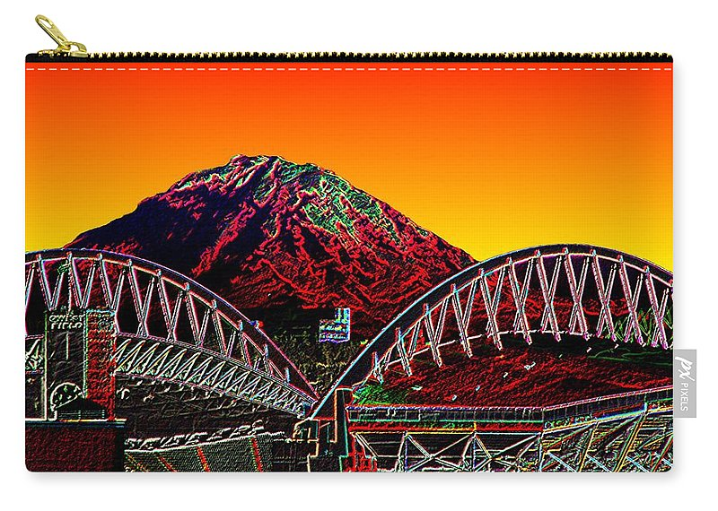 Mount Rainier Carry-all Pouch featuring the photograph Rainier Over Qwest Field by Tim Allen