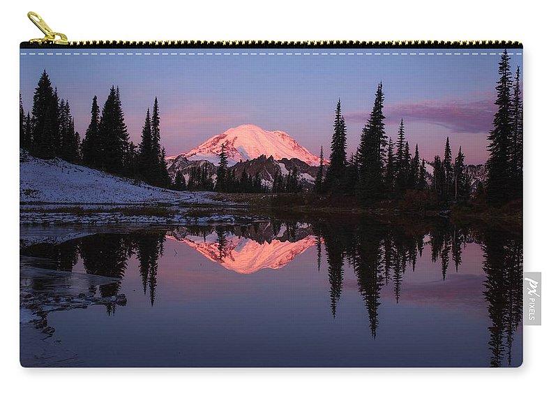 Rainier Sunrise Carry-all Pouch featuring the photograph Rainier Sunrise by Lynn Hopwood