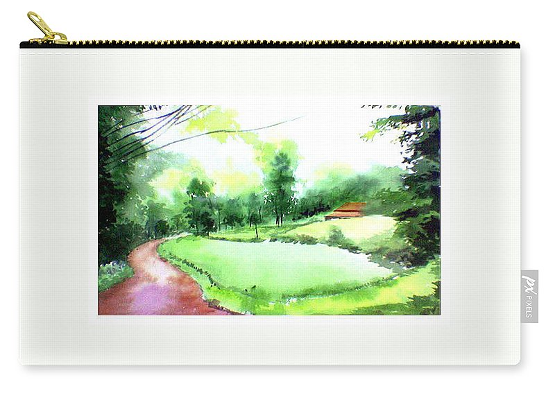 Landscape Carry-all Pouch featuring the painting Rains in west by Anil Nene