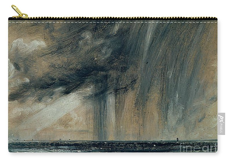 Stormy; Seascape; Rain; Raining; Tempest; Tempestuous; Black Cloud Carry-all Pouch featuring the painting Rainstorm Over The Sea by John Constable