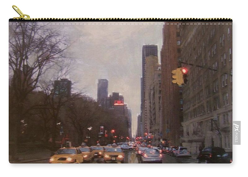 Rain Carry-all Pouch featuring the painting Rainy City Street by Anita Burgermeister